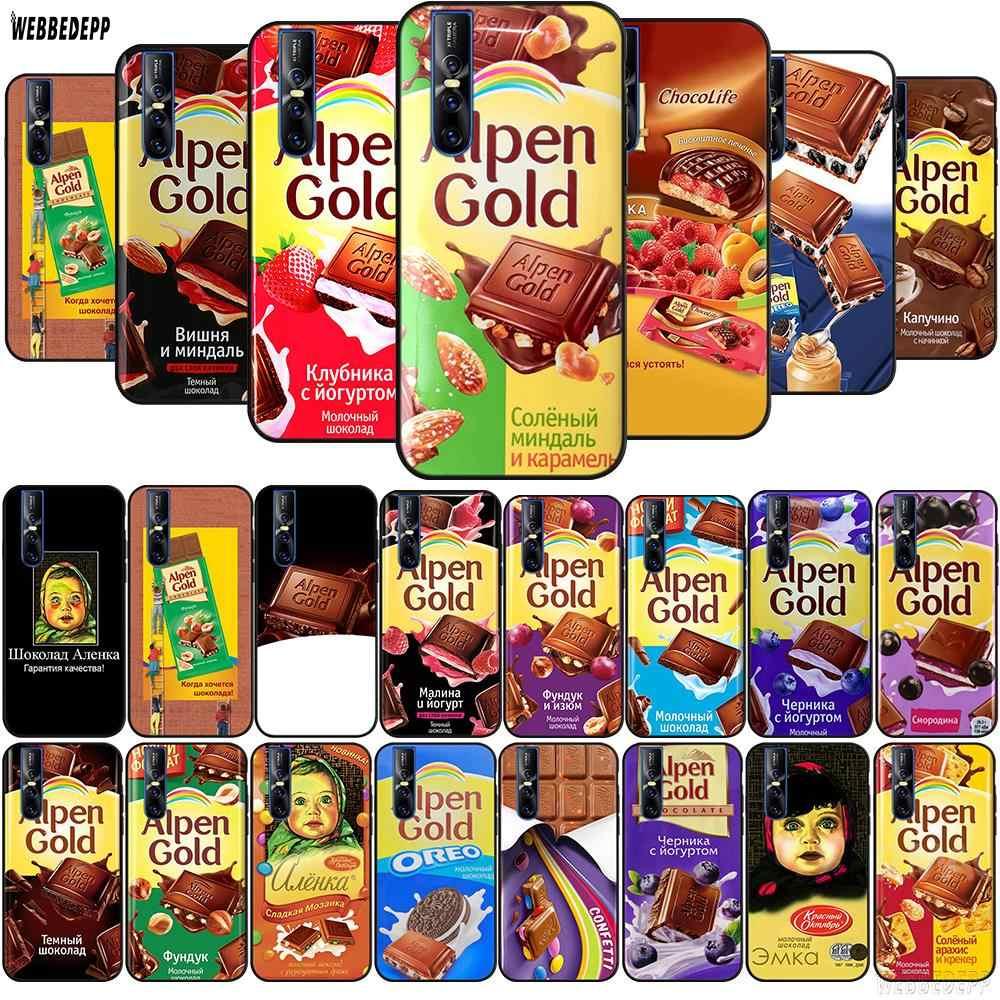 WEBBEDEPP śmieszne czekoladowe rosyjski TPU etui na Vivo Y17 Y53 Y55s Y67 Y75 Y81s Y85 Y89 Y91 Y91C Y95 Y93 V5s V7 v9