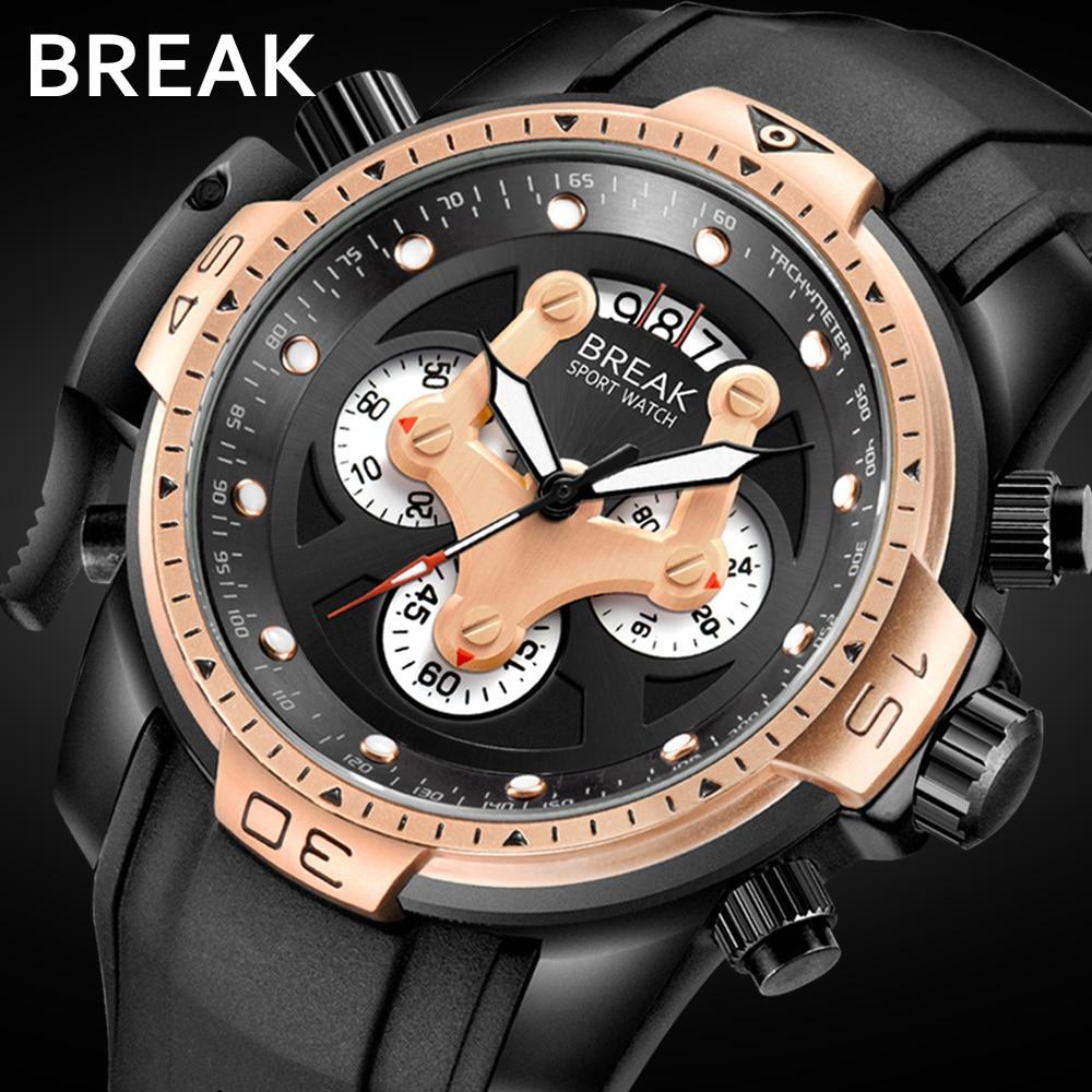 PAUSE Hommes Classique Noir décontracté Mode Militaire Sport ruban en silicone Chronographe Top Marque De Luxe montre à quartz Homme Montres