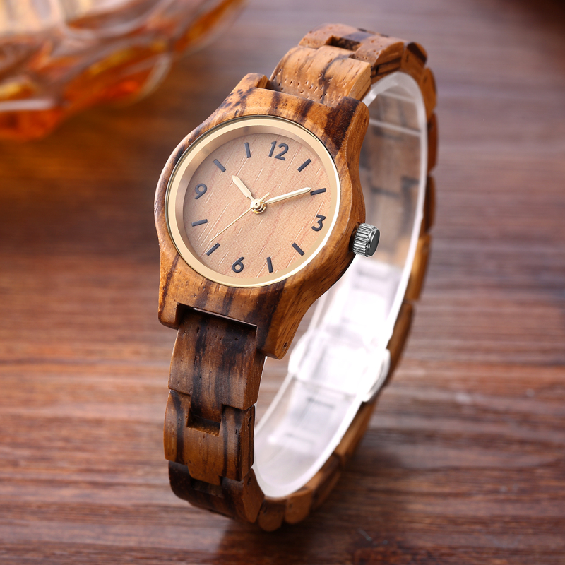 SIHAIXIN small zebra wood quartz wristwatch women analog simple vintage unique sandal wooden band strap watches ladies gift vintage wooden wristwatch full wood case analog classic zebra pattern band male female clock simple sport quartz watch relogio
