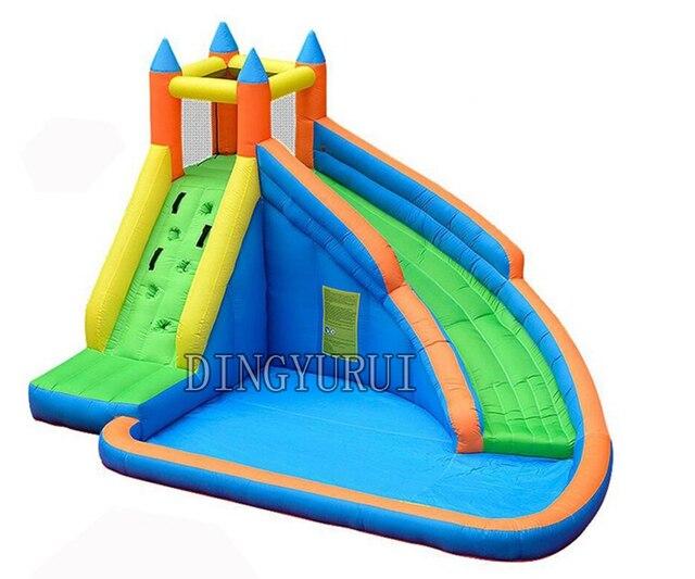 Château gonflable de videur de saut de piscine de glissière deau avec le ventilateur dair pour des enfants