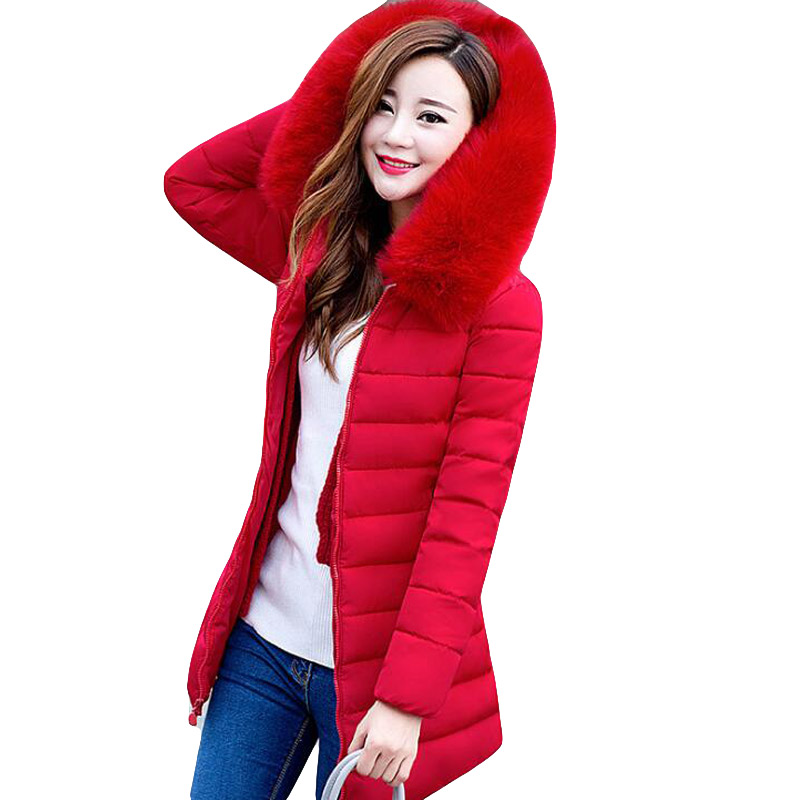 LZMZA womens winter jackets and coats 2018   Parkas   for women Wadded Jackets warm Outwear With a Hood Large Faux Fur Collar