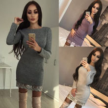 Lanxirui Brand Women Lace Dress Ladies Winter Long Sleeve Casual Loose Knitted Sweater Jumper Mini Dress цены