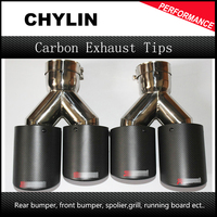 Car Styling 2pcs Inlet63mm outlet89mm Akrapovic carbon exhaust tip double for Audi muffler exhaust pipe(model63 89)