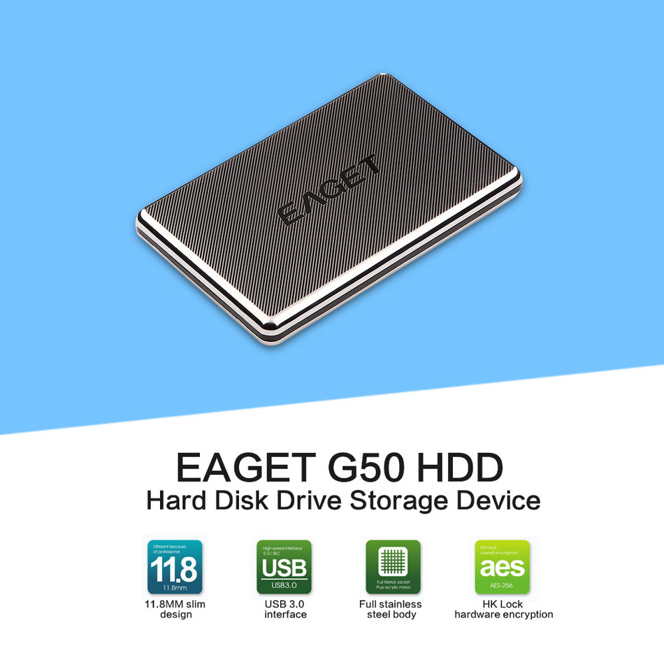 EAGET G50 1TB External Hard Drive 500GB HDD Stainless Steel Body Encryption USB3 0 High Speed