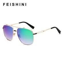 FEISHINI Celebrity Sunglasses Men Brand Design Retro Metal Frame Gradient Colorful Lens Blue Male Sun glasses Shield Original
