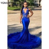 Сексуальное платье для бала платье с юбкой годе Королевского синего цвета Перья Кружева Замочная скважина шеи африканские черные платья на
