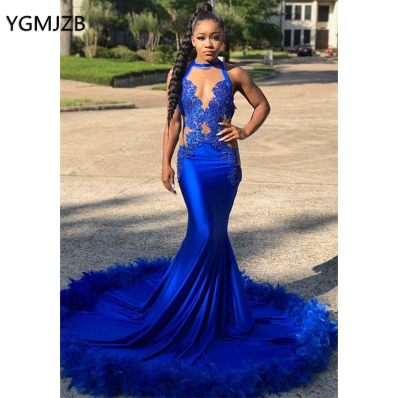 Sexy   Prom     Dress   Royal Blue Mermaid Feathers Lace Keyhole Neck African Black Girls Graduation   Dress   Formal Party Gown Gala   Dress