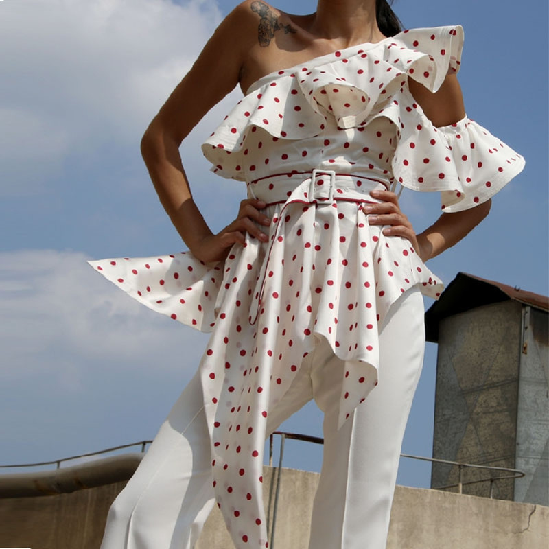 Women tunic tops 2018 High quality Self Portrait Blouse Summer Ruffle One off shoulder Polka Dot irregular Sexy Satin Shirts