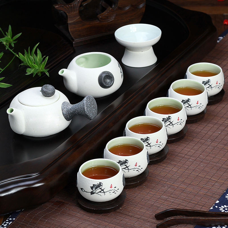 Lotus Ceramic teaset smart Gongfu Tea Set suit for Puer Black Tea Oolong Tieguanyin Green Tea