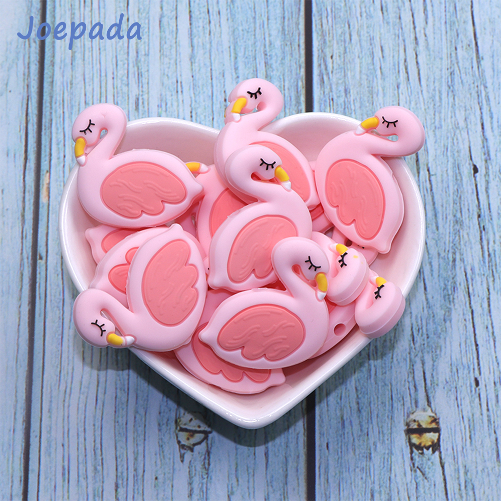 Joepada 10Pcs/lot Silicone Beads Pink Swan Flamingo Shape Making Baby Teething Necklace Accessories Nursing Toy Baby Teether