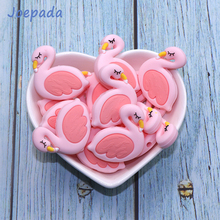 Joepada 10Pcs/lot Silicone Beads Pink Swan Flamingo Shape Making Baby Teething Necklace Accessories Nursing Toy Teether