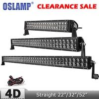 Oslamp 4D Lens 22 200W Straight LED Light Bar Offroad Combo Beam Led Work Driving Light for Truck ATV SUV 4x4 4WD 12v 24v