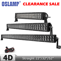 Oslamp 4D Lens 22 200W Straight LED Light Bar Offroad Combo Beam Led Work Driving Light for Truck ATV SUV 4x4 4WD 12v 24v