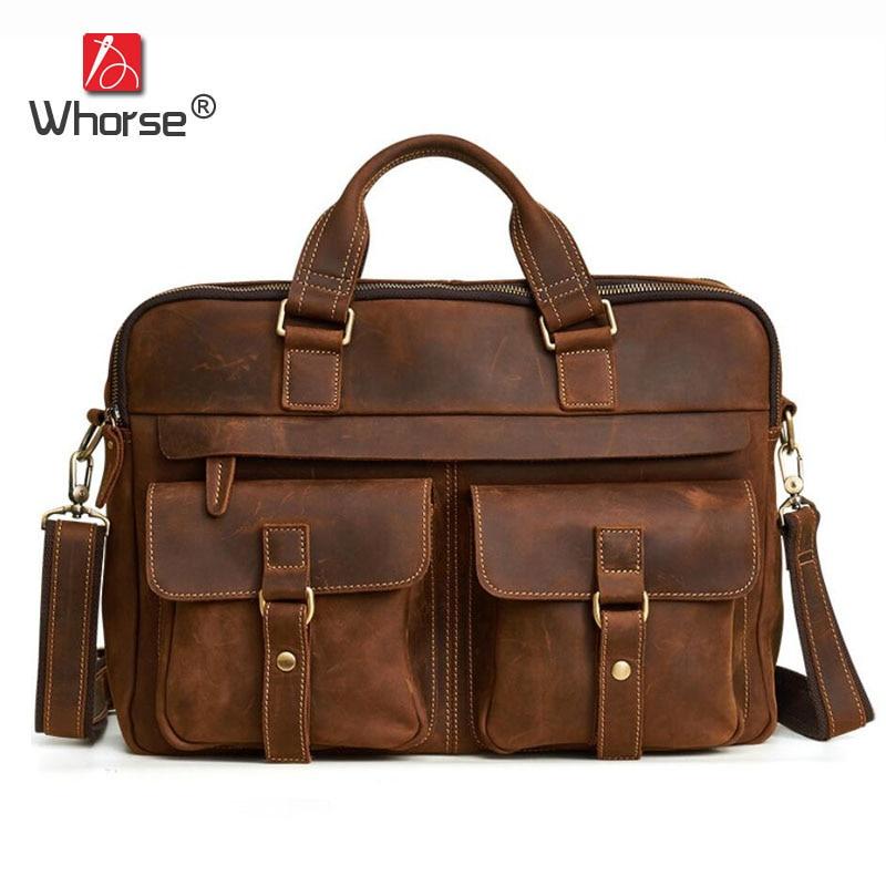 [WHORSE] Luxury Vintage Handbags Crazy Cowhide Leather Men Business Briefcase Large Men's 16 Laptop Bag Messenger Bags W6360