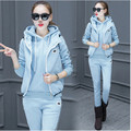Track suit 3Piece set Women Tops + Vest + Long pants Three-piece Add wool Hooded Autumn Winter Students School uniforms BN1838