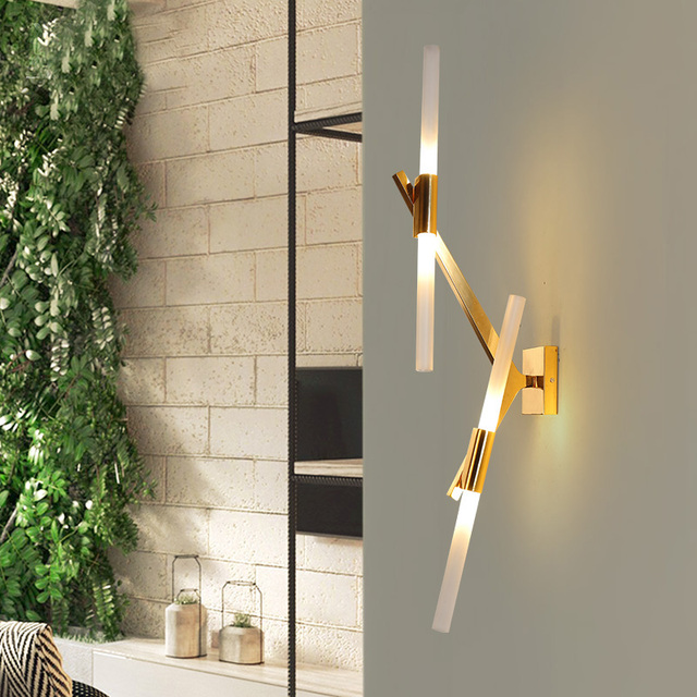 Simple and creative post - modern restaurant wall light industrial living room LED branch wall lamp