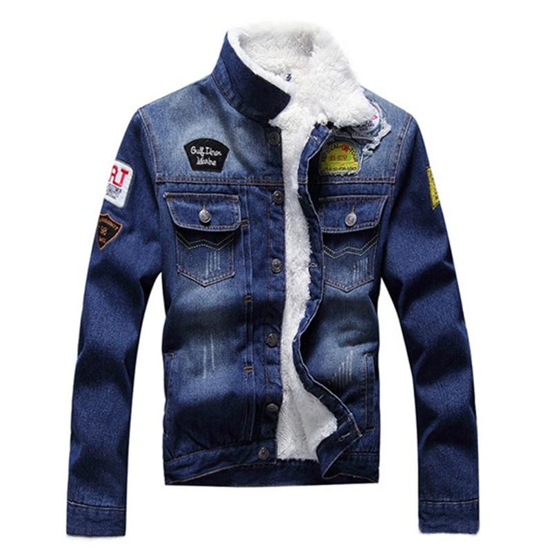 Men Fashion Denim Jackets Autumn and Winter denim jacket thick cashmere wool coat male plus velvet denim jacket Appliques