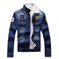 Men Fashion Denim Jackets Autumn And Winter Denim Jacket Thick Cashmere Wool Coat Male Plus Velvet