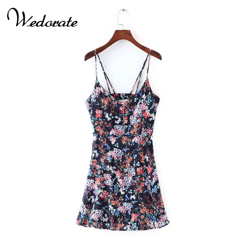 Buy Cheap Wedorate Summer Style Women Backless Dresses Fashion Flower Print Sexy Spaghetti Strapped Mini Dress Tropical Beach Dress RA5187
