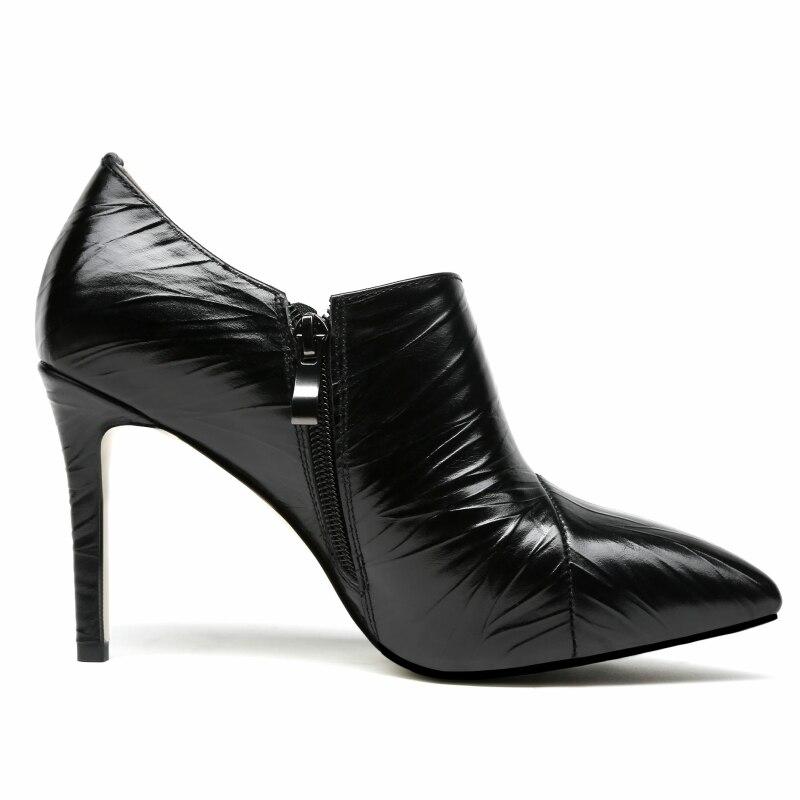 Véritable Chaussures Printemps Automne Pompes Haute En Bout Plissée Marque Femme Cuir Profonde Pointu Noir Semelle Karinluna Zip Talons marron 2018 my8Nwnv0O