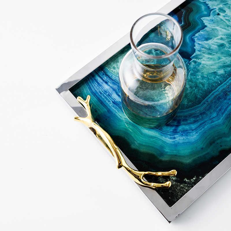 Nordic стиль синий Агат узор большой лоток дисплей поддон для хранения украшения дома модель украшения комнаты