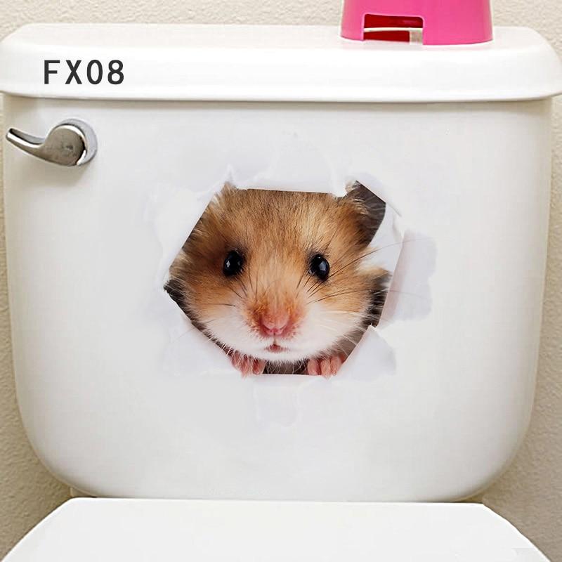 """1 шт. 3D милые наклейки """"сделай сам"""" с котом, наклейки на стену для всей семьи, украшения для окна, комнаты, ванной комнаты, унитаза, декоративные кухонные аксессуары - Цвет: 25 x 16.5 cm-11"""