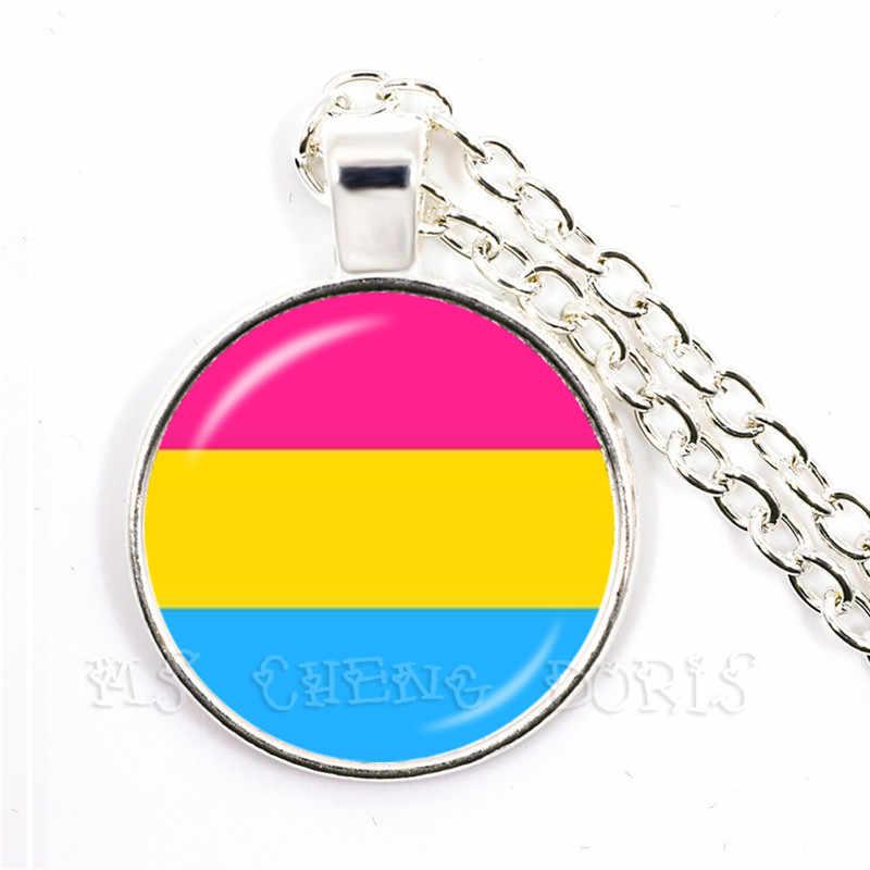 LGBT naszyjnik Bi Pride 25mm szklana kopuła wisiorek naszyjnik Gay Pride tęczowa flaga zdjęcie szkło Cabochon biżuteria dla kobiet mężczyzn kochanka