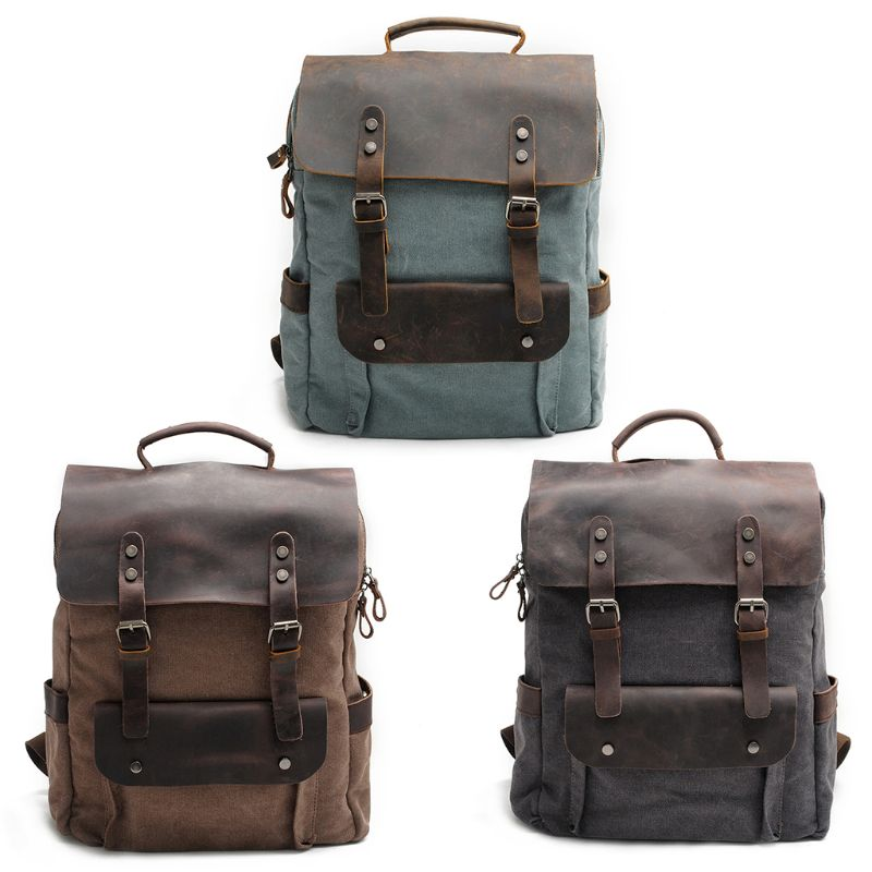 Canvas Laptop Backpack Unisex Vintage Leather Casual School College Business Bags Hiking Travel Daypack vintage canvas backpack fashion canvas rucksack daypack leisure college bag travel school bags unisex computer bag backpacks
