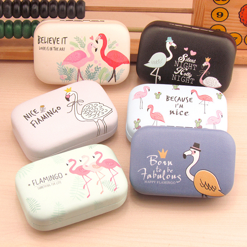 Color Flamingo Contact Lenses Case For Lenses Container Contact Lens Cleaner Lens with Travel Mirror Travel Kit Eyewear Cases