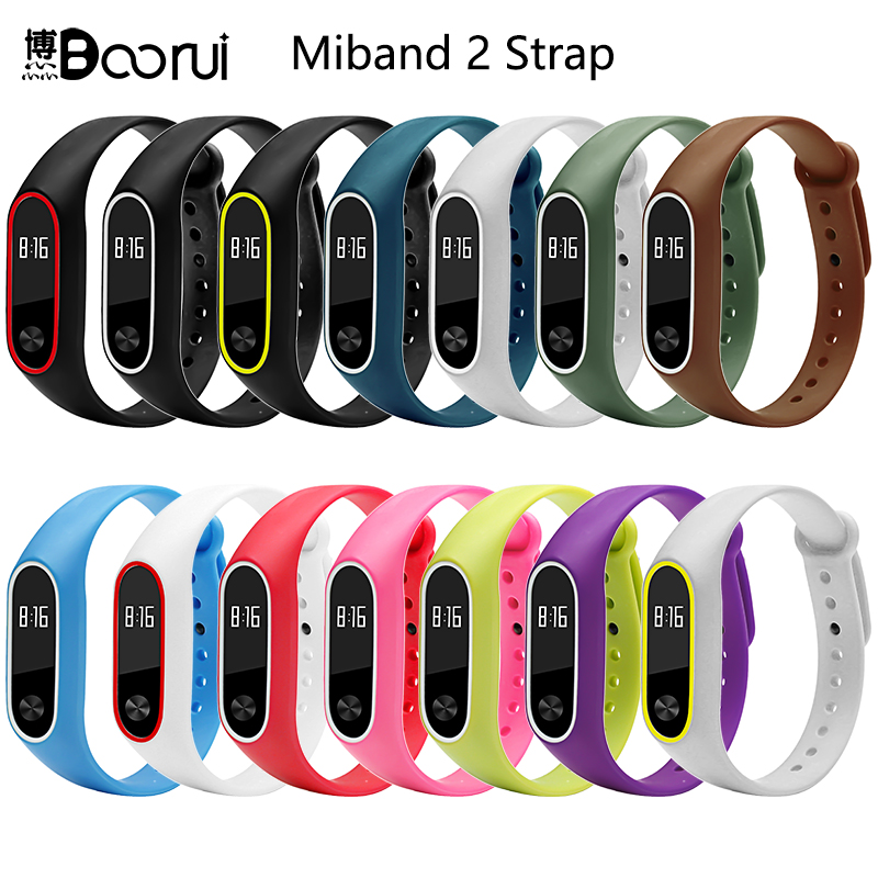 BOORUI Silicone Mi Band 2 Bracelet Strap Double Color Miband2 Strap Wristband Replacement Smart Wriststrap For Xiaomi Mi2 Band