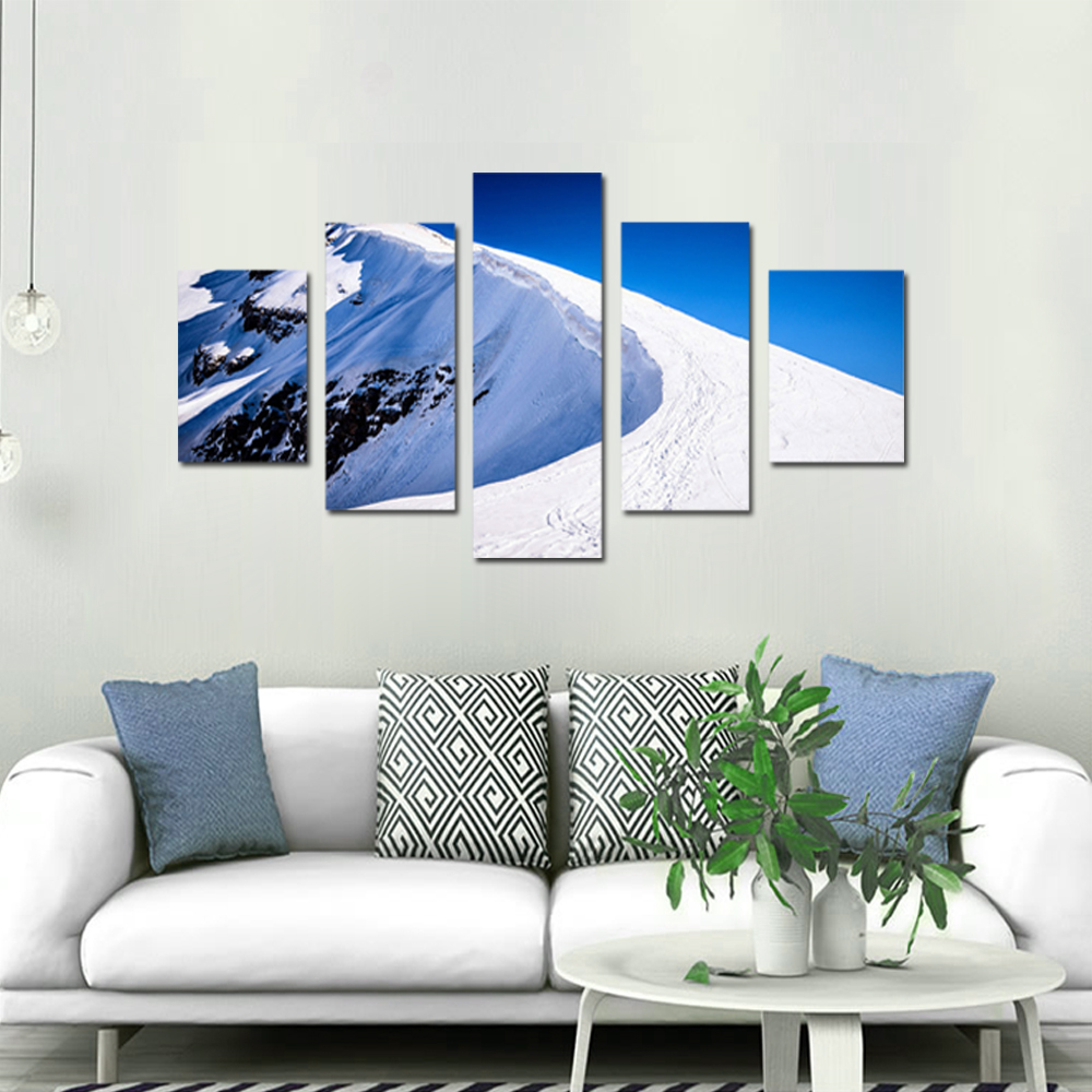 Unframed 5 panel HD Canvas Wall Art Giclee Painting Snow Mountain Landscape For Living Room Home Decor Unframed