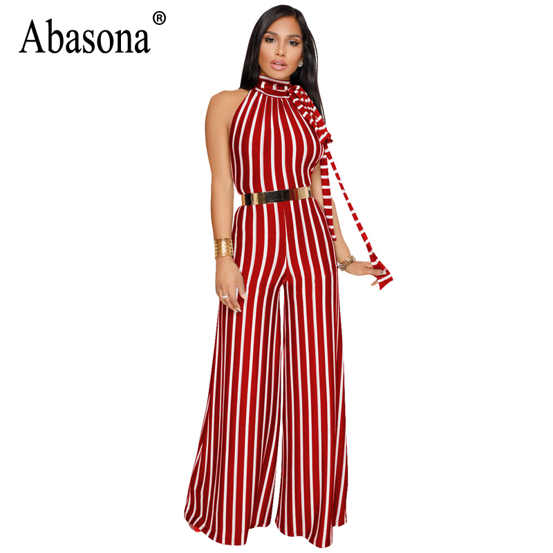 Abasona 2018 Striped Rompers Womens Jumpsuit Stand Collar Sleeveless Wide Leg Jumpsuit Summer Casual Hollow Out Jumpsuits Female