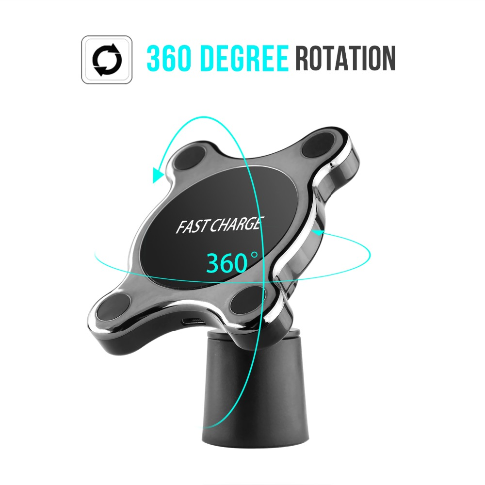 Magnetic Car Qi Wireless Charger For iPhone XS MAX X 7 5W Fast Charging Car Phone Holder Charger For Samsung Galaxy S9 S10 10W in Mobile Phone Chargers from Cellphones Telecommunications