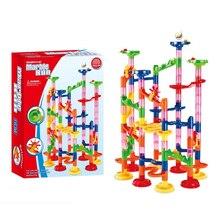 105 Pcs/box Children DIY Construction Marble Race Run Maze Balls Pipeline Type Track Building Blocks Educational Toys for Kids