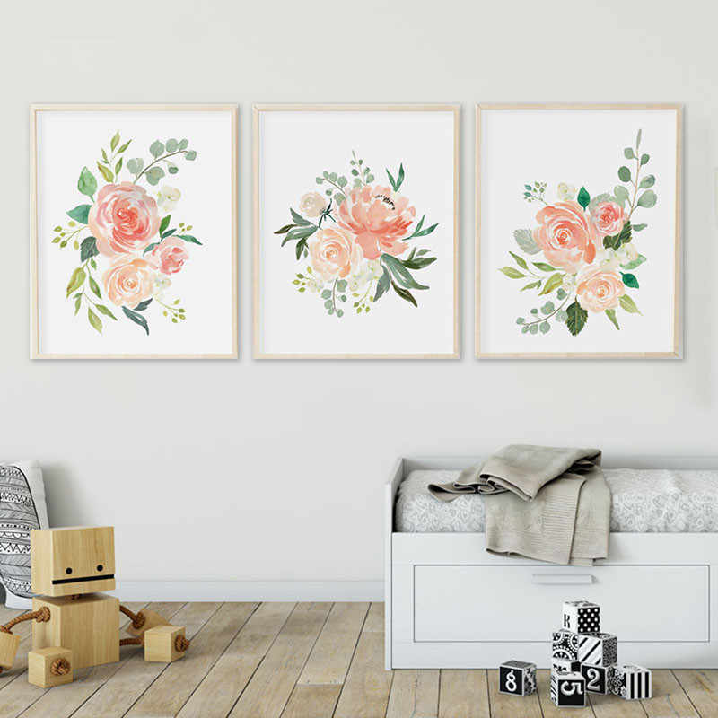 Watercolor Flowers Posters and Prints Set Of 3 Floral Prints Nursery Wall Art Pictures Bedroom Decoration Scandinavian Decor