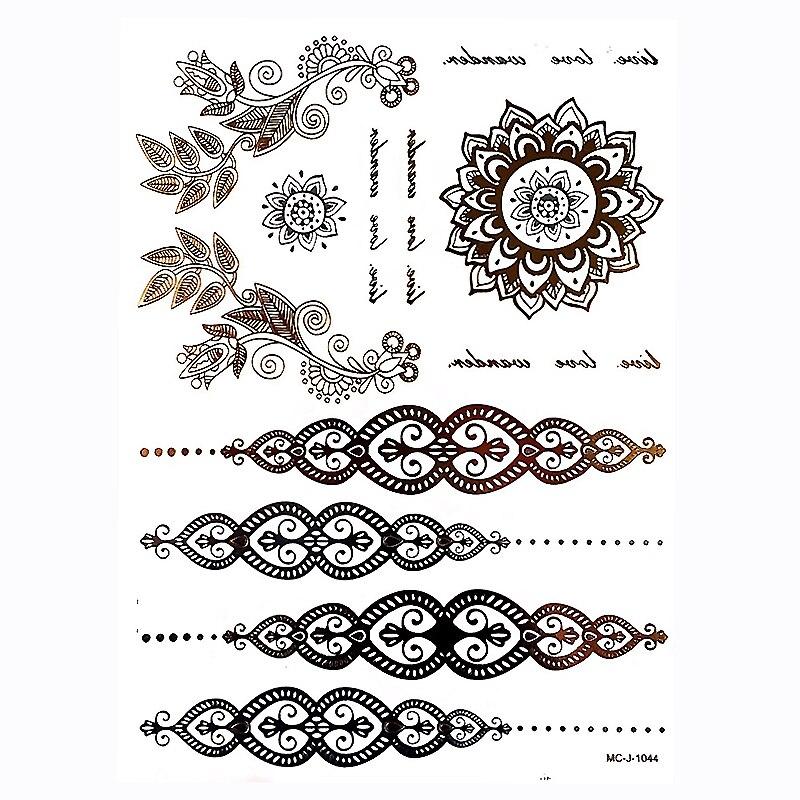 1 pc Or Ruban Flash Métallique Inspirer Étanche Tatouage Inde - Tatouages et art corporel - Photo 2