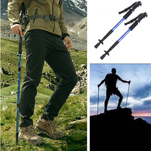 1 Pair 4-Section Anti Shock Hiking Walking Trekking Trail Poles Stick Adjustable Canes