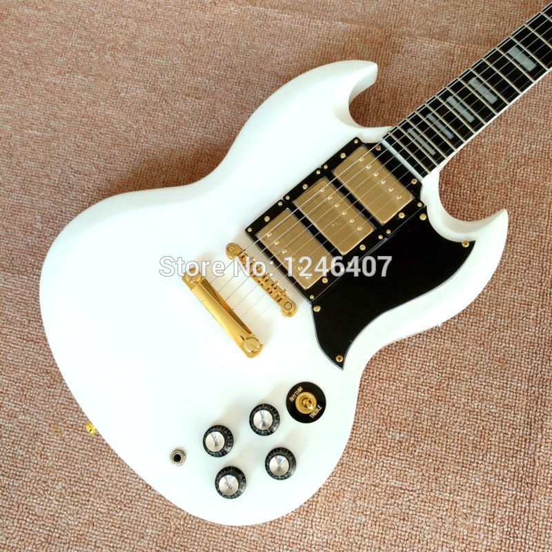 Free delivery of high quality custom shop electric guitar SG400 White Guitar 3 pickup ebony wholesale retail real photos