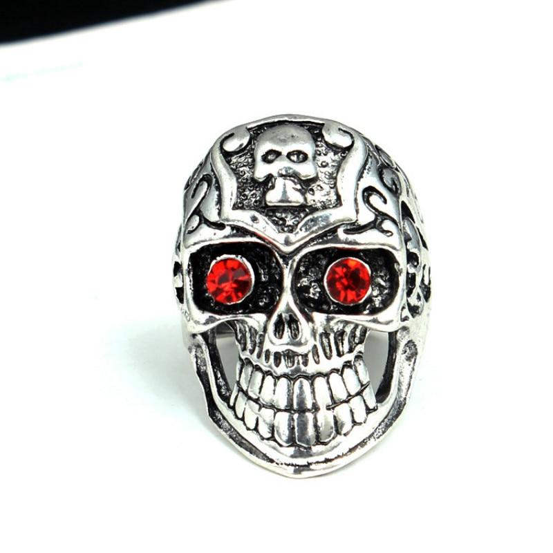 1 Pcs Fashion Gothic Skull Biker Men Ring Rock Punk Antique Silver Floral Totem Red Eyes Skull Ring Jewelry Gift