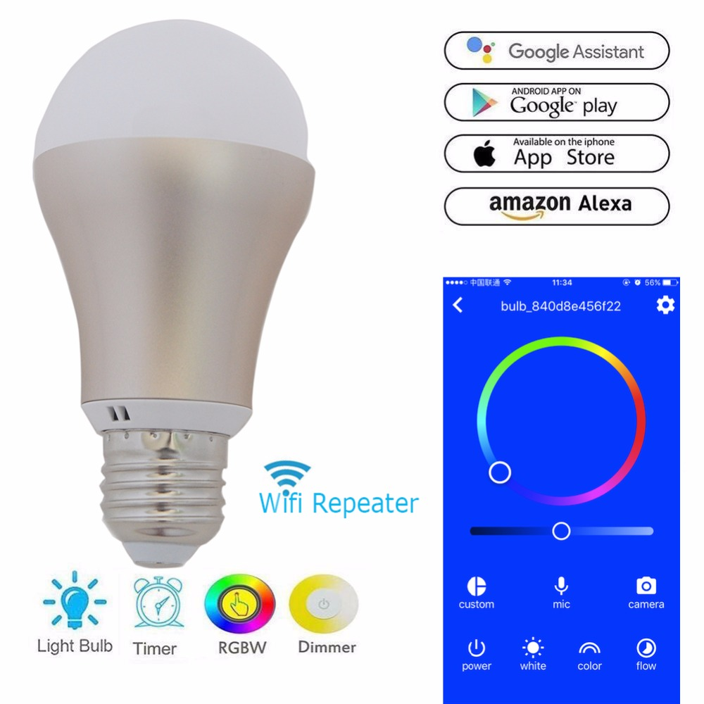 Wireless Wifi LED Bulb Wi-Fi Repeater Extender Booster Amplifier ESP8266 E27 for Smart Home 2.4G Phone APP Android 4.0 / IOS9.0