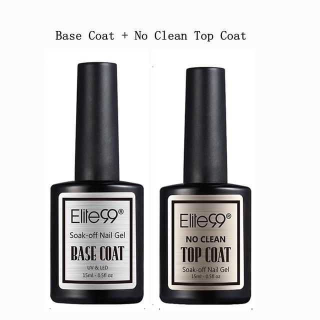 Elite99 Weg Tränken Base Top Coat Gel Nagellack UV 15 ml Transparent Keine Wischen Matt Top Mantel Reinigung Primer gel Polnischen Maniküre