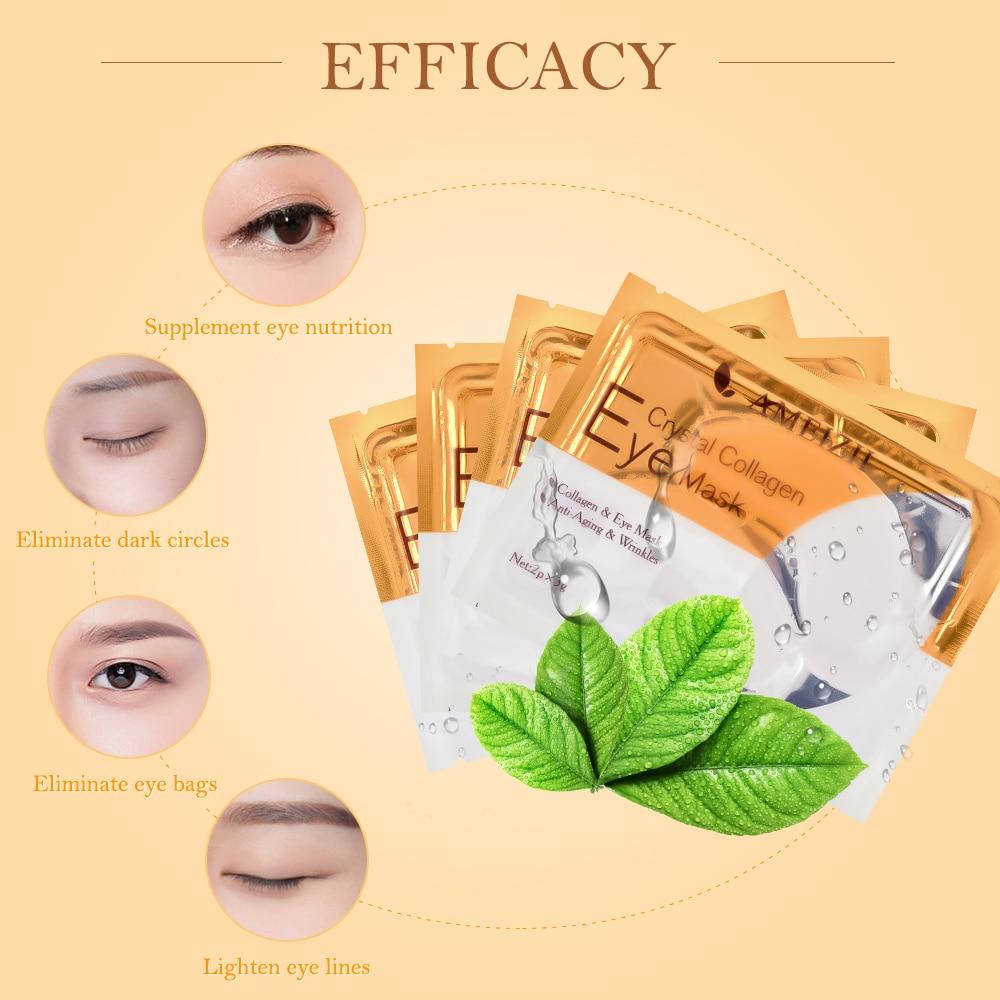 AMEIZII 2Pcs 1Pair 24K Gold Crystal Collagen Eye Mask Eye Patches For Eye Care Dark Circles