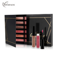 Heiße Geschenk-box 12 Farbe Flüssigkeit Matte Lippenstift Kosmetik Make-Up Nude Lip Lippenstift Metallic Lip Gloss Stick Make-Up Lippen Lipgloss