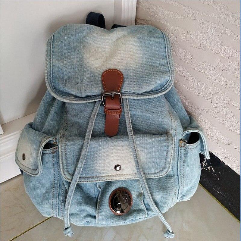 Classique Vintage mode Denim Jean femmes Preppy à la mode rétro Style sac à dos sacs filles sacs d'école décontracté casual daypacks