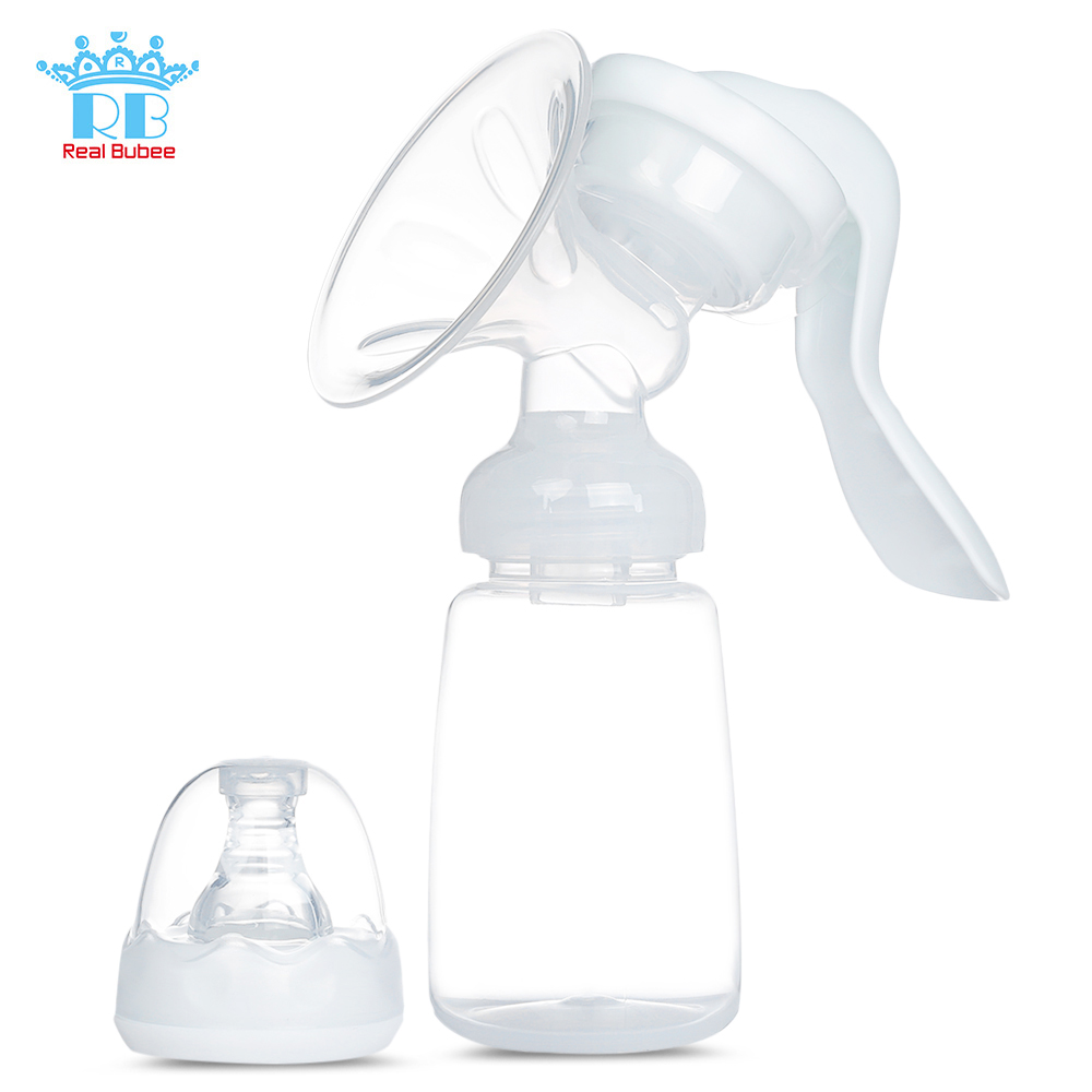 RealBubee Portable Manual Breast Pump BPA Free Baby Breastfeeding Milk Bottle Anti-Back-Flow Comfortable Suction Breast Pump