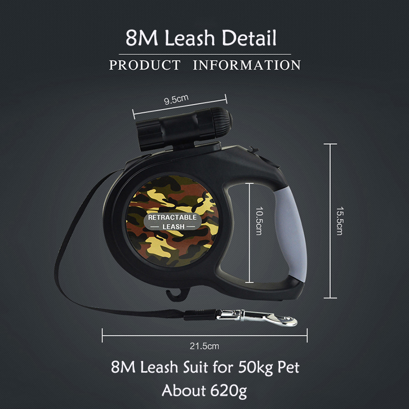 New Arrival 8M 50kg Large Dog Leash Retractable Extending Pet Leash Lead for Big and Medium Dog with LED 6