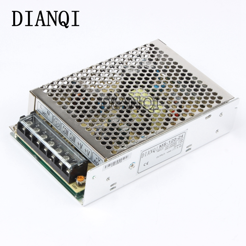 DIANQI power supply 120W  24v  5a mini size ac dc converter power supply unit ms-120-24  24v variable dc voltage regulator retro loft style industrial vintage wall lamp edison wall sconce 2 lights water pipe wall light fixtures home lighting e27 bulb