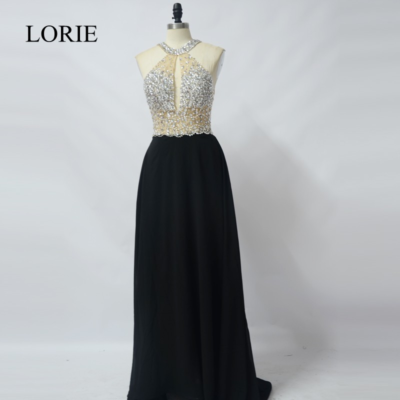 Black Chiffon Long Prom Dresses 2019 See Through Tulle Beading Top Girls Formal Graduation Party Dresses Sexy Evening Gowns