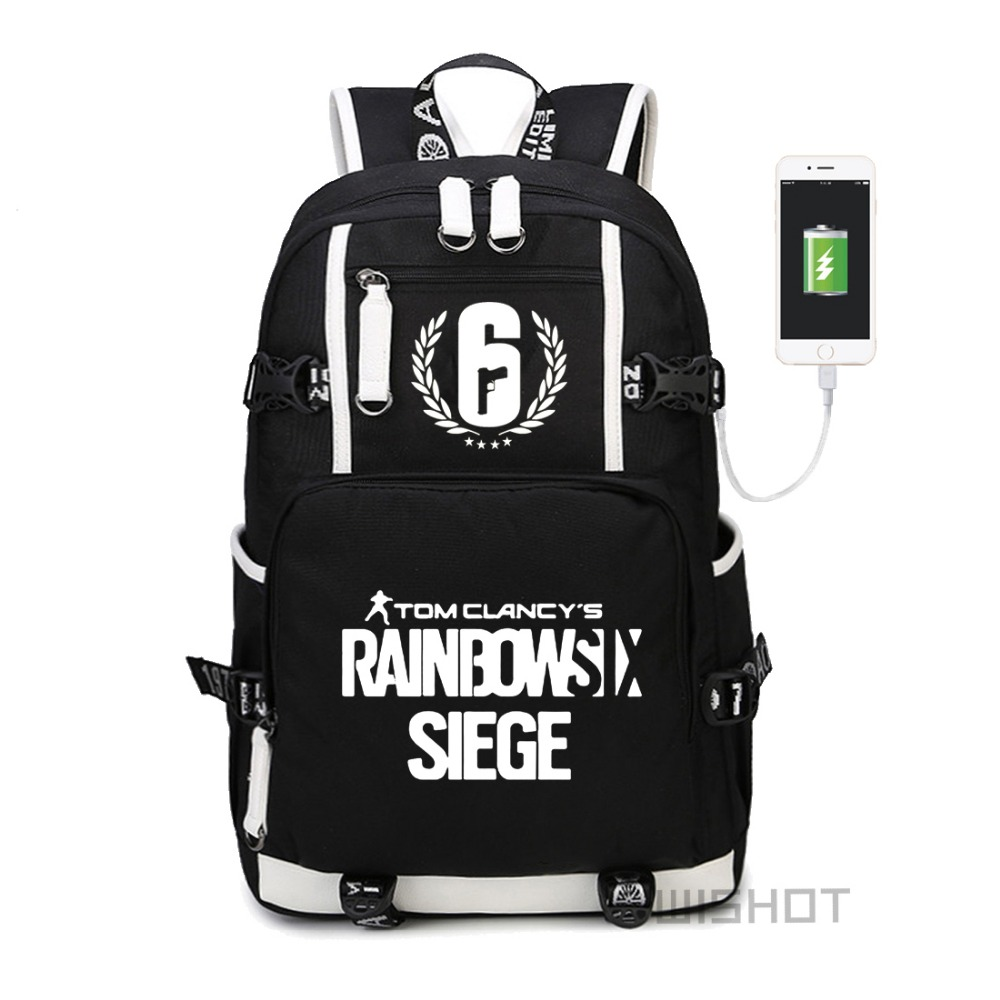 Wishot Game Tom Clancy's Rainbow Six Siege Backpack For Teenagers Men Women's Student  Multifunction Usb Charging  Luminous