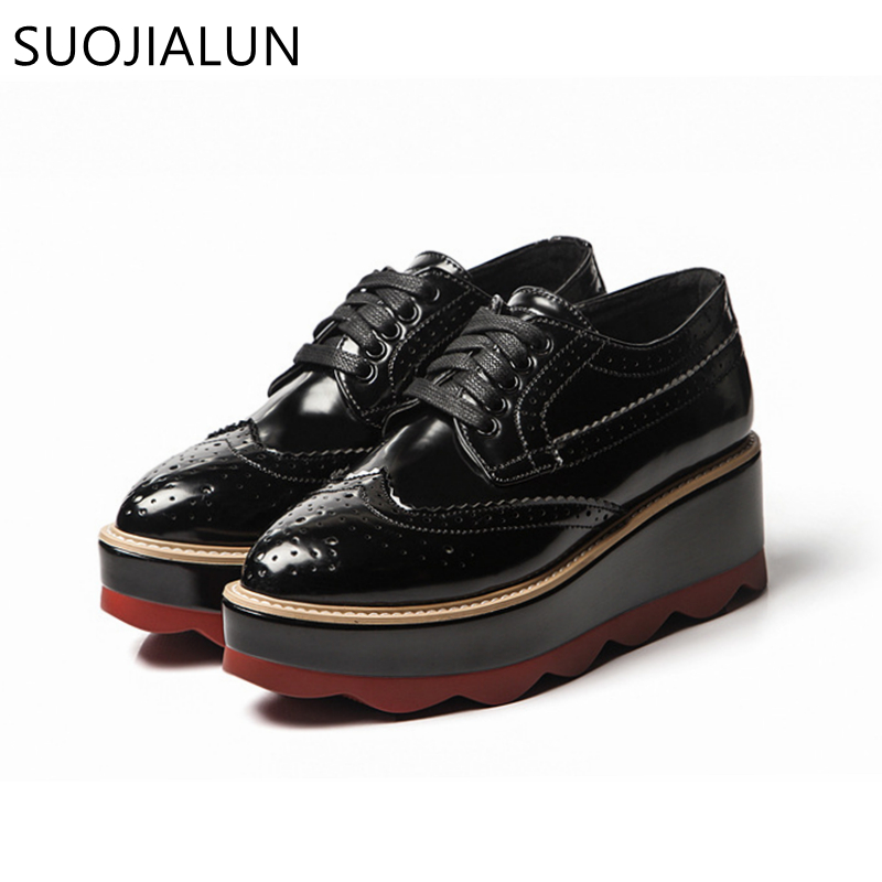 SUOJIALUN Brand Spring Women Platform Shoes Woman Brogue Patent Leather Flats Oxford Shoes For Women Lace Up Footwear padegao brand spring women pu platform shoes woman brogue patent leather flats lace up footwear female casual shoes for women